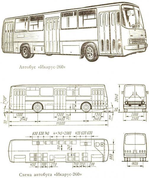 схема автобуса Икарус-260;
