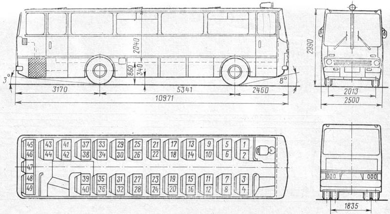 Чертеж автомобиля Ikarus-255: